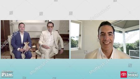 Scott Feinberg, Roger Durling and Sacha Baron Cohen