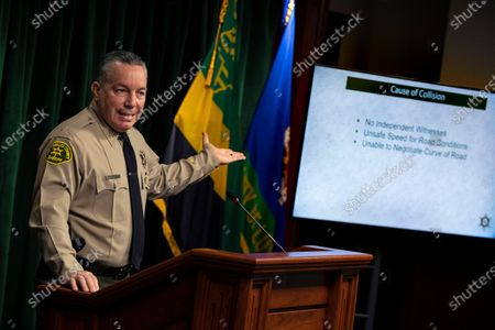 Los Angeles County Sheriff Alex Villanueva gives reporters an update on the investigation into the crash that seriously injured pro golfer Tiger Woods, during a press conference at the Hall of Justice on Wednesday, April 7, 2021 in Los Angeles, CA. (Brian van der Brug / Los Angeles Times)