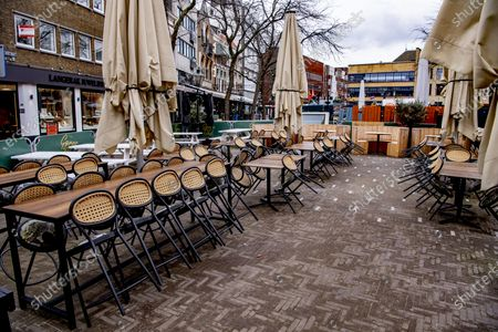 Editorial picture of Outdoor dining preparations, The Hague, The Netherlands - 08 Apr 2021