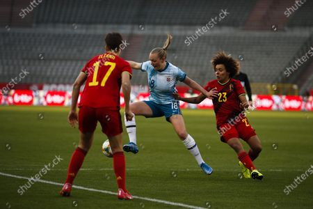 Norway's Frida Maanum, left, vies for the ball with Belgium's Kassandra Missipo during a friendly soccer match between Belgium and Norway at King Baudouin stadium in Brussels, . Norway won 2-0