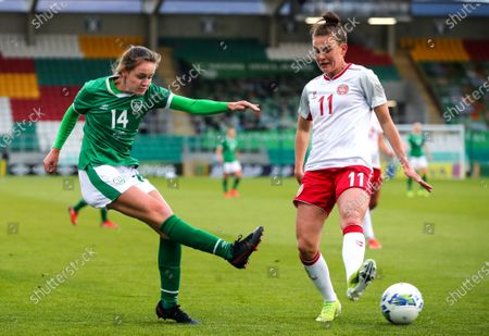 Republic of Ireland WNT vs Denmark. Ireland's Heather Payne with Katrine Veje of Denmark