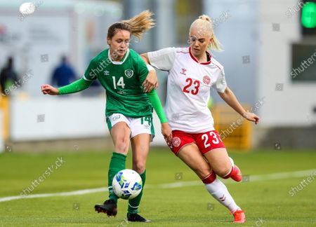 Republic of Ireland WNT vs Denmark. Ireland's Heather Payne with Sofie Svava of Denmark