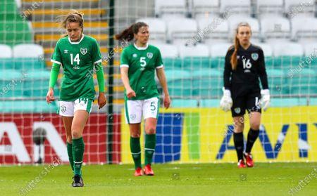 Republic of Ireland WNT vs Denmark. Ireland's Heather Payne dejected after Denmark's Nicoline Sørensen scored a goal