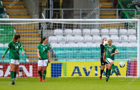 Republic of Ireland WNT vs Denmark. Ireland's Denise O''Sullivan and Heather Payne dejected after Denmark's Nicoline Sørensen scored a goal
