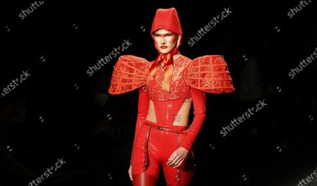A model presents a creation from the Fall-Winter 2021/2022 collection of Maya Hansen fashion house during a show on the opening day of the 73rd Mercedes-Benz Fashion Week Madrid, in Madrid, Spain, 08 April 2021. The fashion event runs from 08 to 11 April.