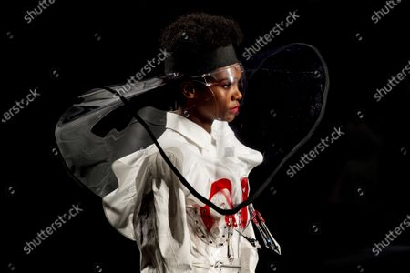 Model displays a creation by Maya Hansen during Fashion Week in Madrid, Spain, . The Spanish fashion week takes place from 8 to 11 April under new security measures and social distance guidelines due to the coronavirus pandemic