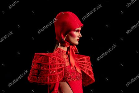 Model displays a creation by Maya Hansen during Fashion Week in Madrid, Spain, . The Spanish fashion week takes place from 8 to 11 April under new security measures and social distance guidelines due to the coronavirus pandemic Editors' Picks