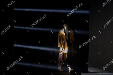 Model displays a creation by Pablo Erroz during Fashion Week in Madrid, Spain, . The Spanish fashion week takes place from 8 to 11 April under new security measures and social distance guidelines due to the coronavirus pandemic