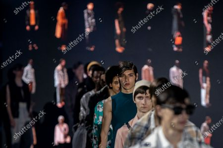 Stock Photo of Models display creations by Pablo Erroz during Fashion Week in Madrid, Spain, . The Spanish fashion week takes place from 8 to 11 April under new security measures and social distance guidelines due to the coronavirus pandemic