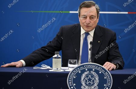 Stock Photo of Mario Draghi speaks during a press conference in Rome