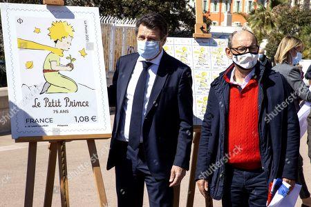 Olivier de Giraud d'Agay (Director of the Succession Saint Exupery D'agay), Christian Estrosi Mayor of Nice, President of the Metropole Nice Cote d'Azur, President delegue de la Region Provence-Alpes-Cote d'Azur)