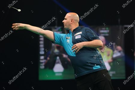 Rob Cross throws during the PDC Premier League darts at Marshall Arena, Milton Keynes