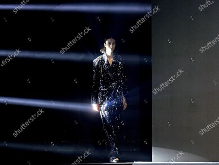 Stock Image of A Model presents a creation from the Fall-Winter 2021/2022 collection of Pablo Erroz fashion house during a show on the opening day of the 73rd Mercedes-Benz Fashion Week Madrid, in Madrid, Spain, 08 April 2021. The fashion event runs from 08 to 11 April. Editors' Picks