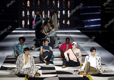 Models present creations from the Fall-Winter 2021/2022 collection of Pablo Erroz fashion house during a show on the opening day of the 73rd Mercedes-Benz Fashion Week Madrid, in Madrid, Spain, 08 April 2021. The fashion event runs from 08 to 11 April.