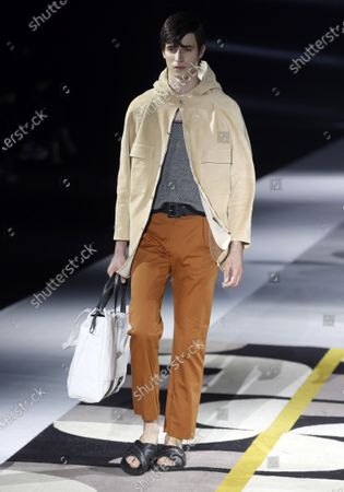 A Model presents a creation from the Fall-Winter 2021/2022 collection of Pablo Erroz fashion house during a show on the opening day of the 73rd Mercedes-Benz Fashion Week Madrid, in Madrid, Spain, 08 April 2021. The fashion event runs from 08 to 11 April.