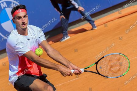 Lorenzo Sonego in action during the ATP Tour 250 Sardegna Open tennis match against Gilles Simon in Cagliari, Italy on April 08, 2021. sonego won the match 6-4, 6-1.