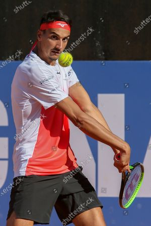Stock Picture of Lorenzo Sonego in action during the ATP Tour 250 Sardegna Open tennis match against Gilles Simon in Cagliari, Italy on April 08, 2021. sonego won the match 6-4, 6-1.