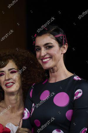 Blanca Romero, Marta Belenguer attends 'Teatro Chino' fashion Show photocall at Florida Retiro Theater on April 8, 2021 in Madrid, Spain