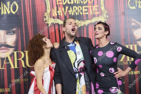 Blanca Romero, Marta Belenguer, Eduardo Navarrete attends 'Teatro Chino' fashion Show photocall at Florida Retiro Theater on April 8, 2021 in Madrid, Spain