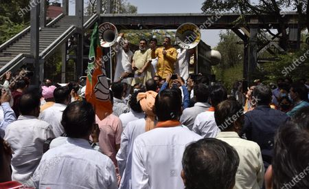 Editorial image of Delhi BJP Protest Demanding Kejriwal Government Pay 50 Percent Above MSP To Farmers, New Delhi, India - 08 Apr 2021