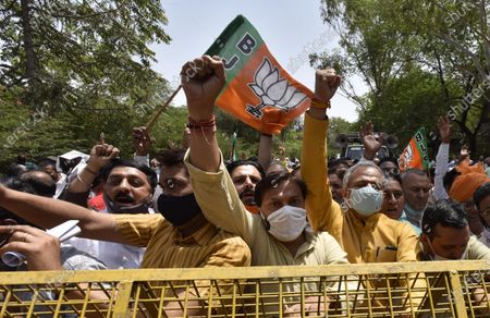 Editorial photo of Delhi BJP Protest Demanding Kejriwal Government Pay 50 Percent Above MSP To Farmers, New Delhi, India - 08 Apr 2021