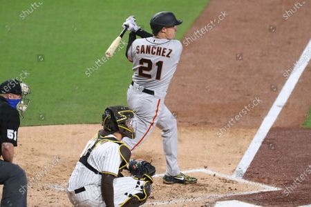 Stock Photo of San Francisco Giants Aaron Sanchez seen here during an at bat in a baseball game against the San Diego Padres, in San Diego