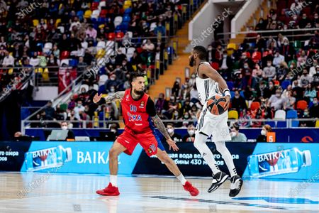 Norris Cole, #30 of LDLC Asvel Villeurbanne plays against CSKA Moscow during the Turkish Airlines EuroLeague Round 34 of 2020-2021 season at Megasport Arena.(Final Score; CSKA Moscow 88:70 LDLC Asvel Villeurbanne).