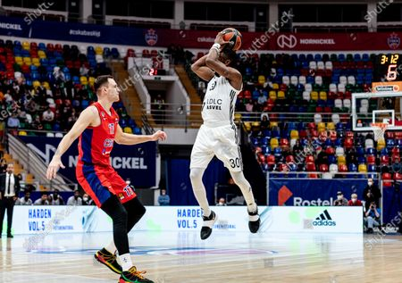 Stock Image of Norris Cole, #30 of LDLC Asvel Villeurbanne plays against CSKA Moscow during the Turkish Airlines EuroLeague Round 34 of 2020-2021 season at Megasport Arena. (Final Score; CSKA Moscow 88:70 LDLC Asvel Villeurbanne).