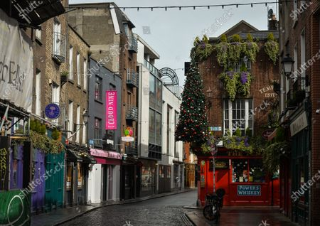 A view of an empty street in Dublin's Temple Bar during level 5 COVID-19 lockdown. On Thursday, 8 April 2021, in Dublin, Ireland.