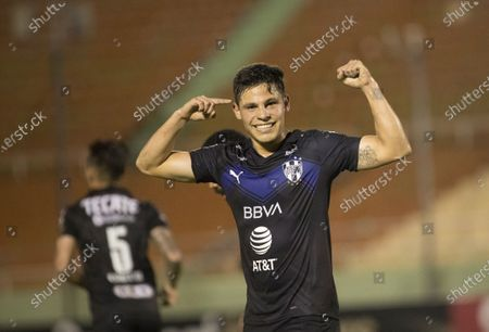 Stock Photo of Alfonso Gonzalez of Monterrey celebrates after scoring a goal during a match of the Concacaf Champions League between Monterrey and Atletico Pantoja at the Felix Sanchez stadium in Santo Domingo, Dominican Republic, 08 April 2021.