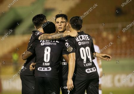 Players of Monterrey celebrates after scoring during the CONCACAF Champions League soccer match between Monterrey and Atletico Pantoja at the Felix Sanchez Stadium in Santo Domingo, Dominican Republic, 08 April 2021.