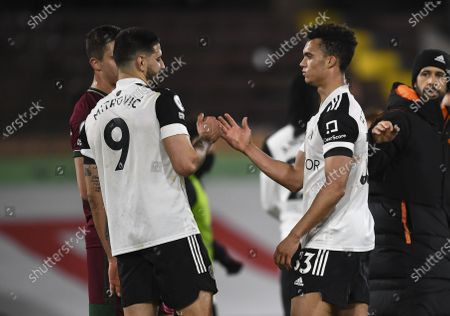 Aleksandar Mitrovic of Fulham and Antonee Robinson of Fulham at full time