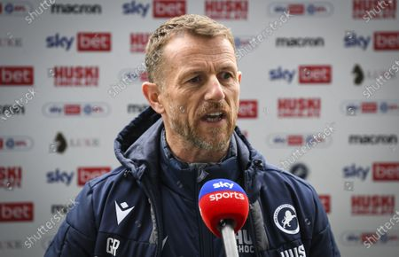 Gary Rowett manager of Millwall is interviewed by Sky Sports ahead of kick off