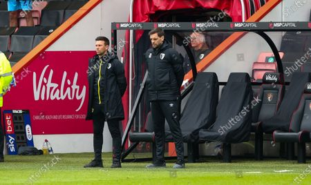 The players & staff (of Bournemouth - Bournemouth Manager - Jonathan Woodgate ) observe 2 minutes' silence for HRH The Duke of Edinburgh, Prince Philip