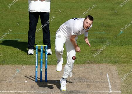 Ollie Robinson of Sussex made an early breakthrough, having Keaton Jennings of Lancashire caught by Aaron Thomason; Emirates Old Trafford, Manchester, Lancashire, England; English County Cricket, Lancashire versus Sussex.