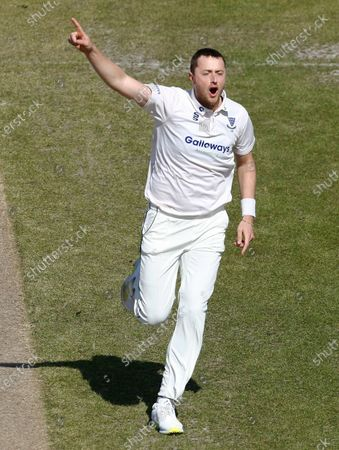Ollie Robinson of Sussex celebrates after he has Keaton Jennings of Lancashire caught by Aaron Thomason for 4; Emirates Old Trafford, Manchester, Lancashire, England; English County Cricket, Lancashire versus Sussex.