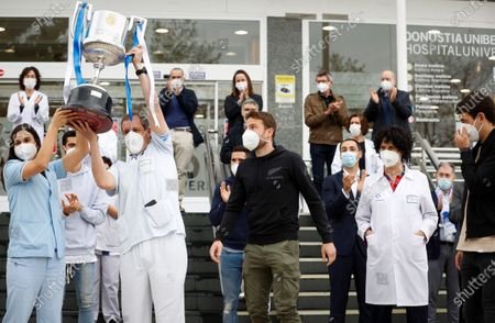 Editorial picture of Real Sociedad's players tribute health workers after winning the King's Cup, San Sebastian, Spain - 09 Apr 2021