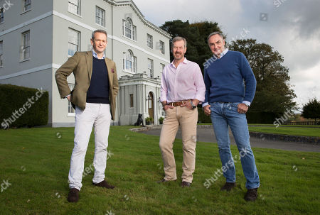 Stock Photo of (l-r) Alexander Armstrong with Lord Ivar Mountbatten and his husband James Coyle at their home Bridewell Park in Devon.