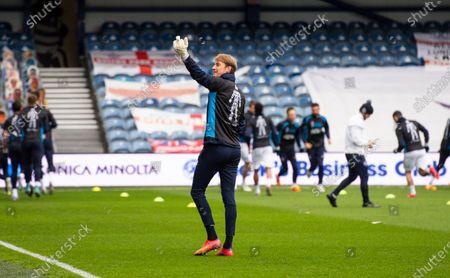 Joe Lumley goalkeeper of QPR during warm up