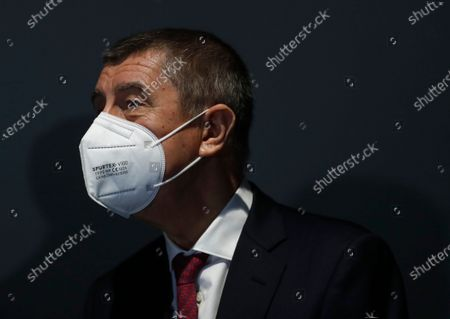 Czech Republic's Prime Minister Andrej Babis arrives at the National vaccination center in Prague, Czech Republic, . On Friday the center, that is the biggest in the country, held its final trials before being able to vaccinate up to 10 000 people a day