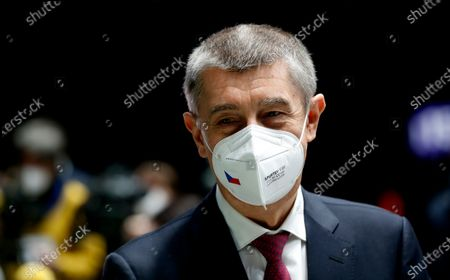 Czech Republic's Prime Minister Andrej Babis holds a press conference at the National vaccination center in Prague, Czech Republic, . On Friday the center, that is the biggest in the country, held its final trials before being able to vaccinate up to 10 000 people a day