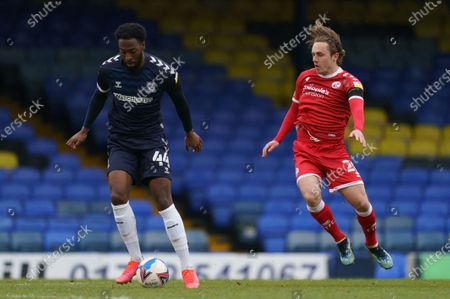 Nathan Ferguson of Southend United (44) and Sam Matthews of Crawley Town (20)