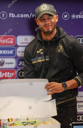 Anderlecht's head coach Vincent Kompany poses with a birthday cake he received before a press conference of Belgian soccer team RSC Anderlecht in Brussels, Friday 09 April 2021, ahead of their upcoming game of the 'Jupiler Pro League' Belgian soccer championship. Kompany's birthday is on the 10th of April. He becomes 35 this year.