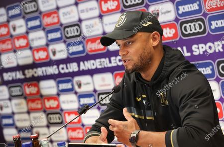 Anderlecht's head coach Vincent Kompany pictured during a press conference of Belgian soccer team RSC Anderlecht in Brussels, Friday 09 April 2021, ahead of their upcoming game of the 'Jupiler Pro League' Belgian soccer championship.