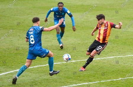 Gareth Evans of Bradford City shoots at goal