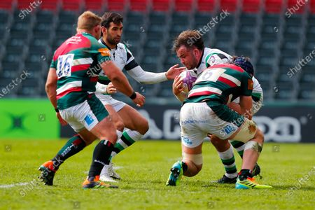 George Martin of Leicester Tigers stops George McGuigan of Newcastle Falcons; Mattoli Woods Welford Road Stadium, Leicester, Midlands, England; European Rugby Challenge Cup, Leicester Tigers versus Newcastle Falcons.