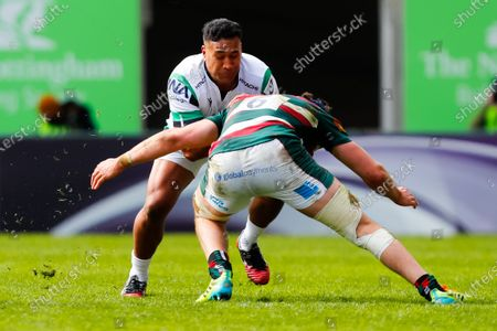 Joel Matavesi of Newcastle Falcons takes on George Martin of Leicester Tigers; Mattoli Woods Welford Road Stadium, Leicester, Midlands, England; European Rugby Challenge Cup, Leicester Tigers versus Newcastle Falcons.