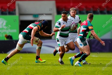 Joel Matavesi of Newcastle Falcons looks to fend off George Martin of Leicester Tigers; Mattoli Woods Welford Road Stadium, Leicester, Midlands, England; European Rugby Challenge Cup, Leicester Tigers versus Newcastle Falcons.
