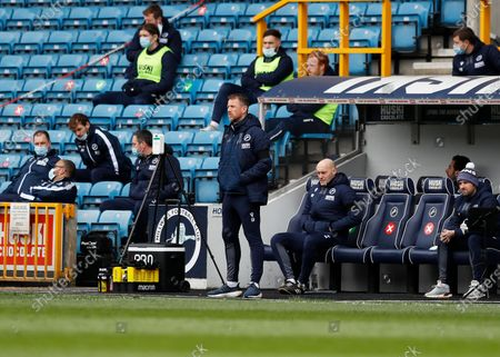 Millwall Manager Gary Rowett looks on from the touchline; The Den, Bermondsey, London, England; English Championship Football, Millwall Football Club versus Swansea City.