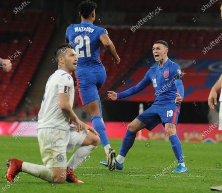 Ollie Watkins of England celebrates scoring goal no 5 with Ben Foden on his debut